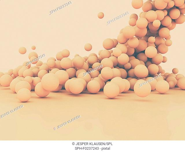 Abstract falling spheres, illustration
