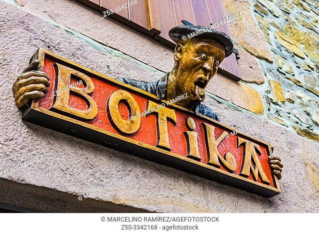 Carved wooden signboard of a pharmacy in the village of Etxalar. Etxalar, Cinco Villas, Bortziriak,Navarre, Spain, Europe