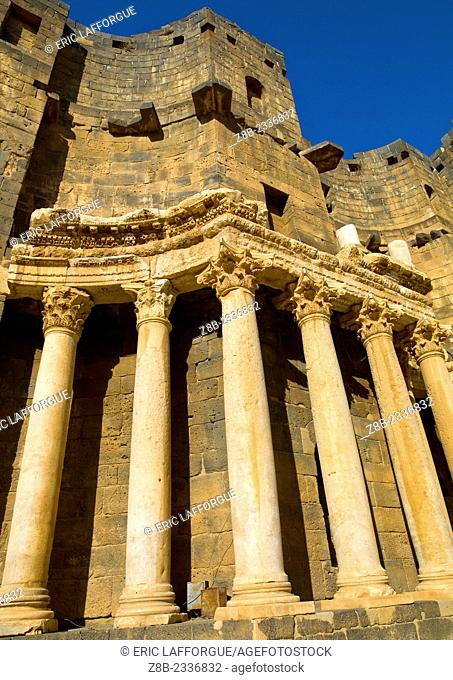 BOSRA, SYRIA - APRIL 14: Bosra, a UNESCO World Heritage Site, once the capital of the Roman province of Arabia, was an important stopover on the ancient caravan...