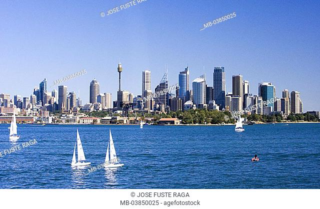 Australia, Sydney, city-opinion, harbor, New South Wales, city, metropolis, skyline, skyscrapers, buildings, television-tower, tower, cityscape, harbor-basins