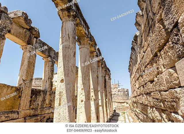 The Latrine (toilet) in the Frontinus street near Agora, Roman remains at Hierapolis, Pamukkale, Turkey