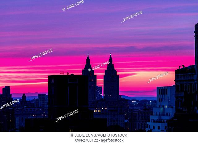 New York Sunset. New York City, Manhattan, Upper East Side Looking Westward