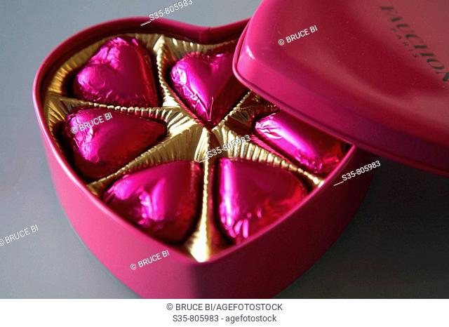 Heart-shaped Fauchon chocolates contain in a heart-shaped box