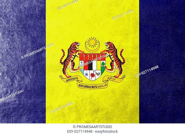 Flag of Putrajaya, Malaysia, painted on leather texture
