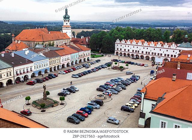 Nove Mesto Nad Metuji, Main Square and Castle tower in the background, aerial view, Czech Republic