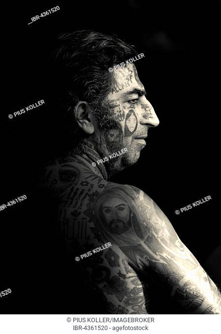 Man, Arab with tattoos all over his body, Ko Samui, Thailand