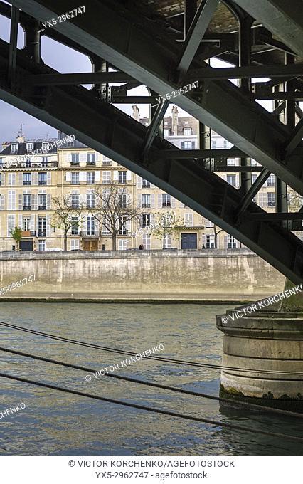 Under the bridge over Seine river in Paris. France