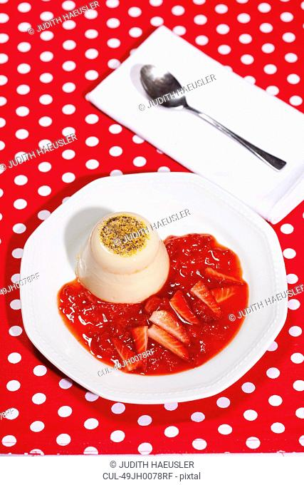 Plate of panna cotta and fruit