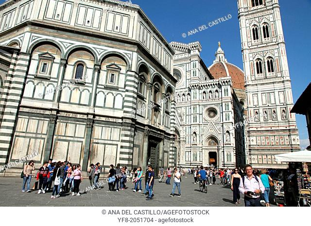 Duomo Santa Maria Del Fiore and Campanile. Florence, Tuscany, Italy