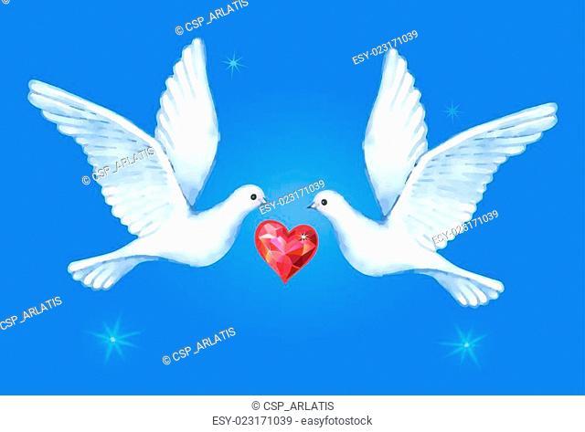 Watercolor soaring pigeons pair