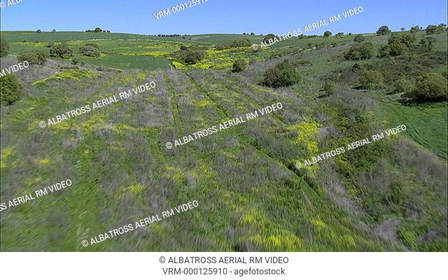Aerial footage of a field in Ramot Menashe