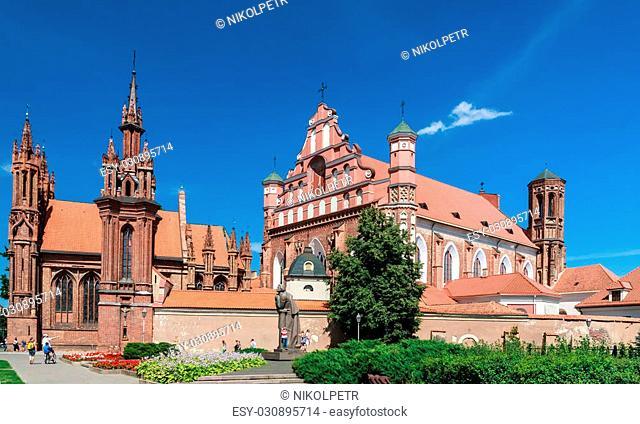 A monument to Adam Mickiewicz, Catholic church of St. Anne's and Church Bernardine. Vilnius, Lithuania