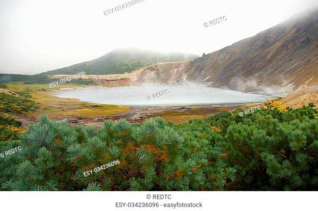 Caldera volcano Golovnin , Boiling Lake . Kuriles , Kunashir Island