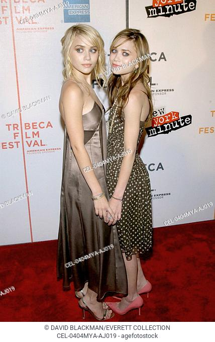 Actresses Mary Kate and Ashley Olsen attend the premiere of NEW YORK MINUTE at the Tribeca Performing Arts Center on May 4