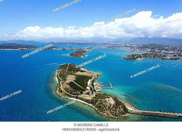 France, New Caledonia, Grande-Terre, Southern Province, Noumea, Moselle Bay (aerial view)
