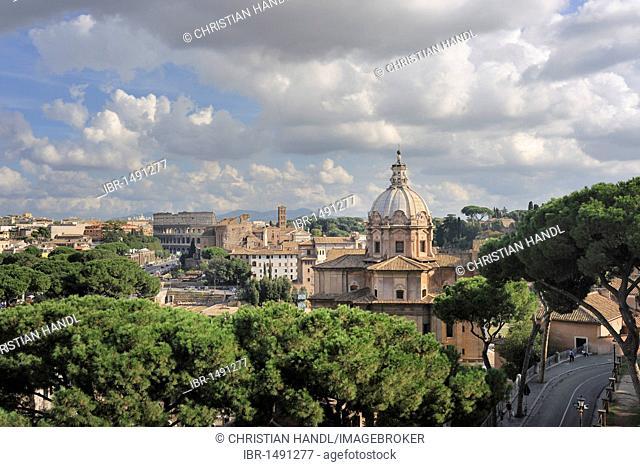 Forum of Caesar and the Church of Santi Luca e Martina, Rome, Italy, Europe