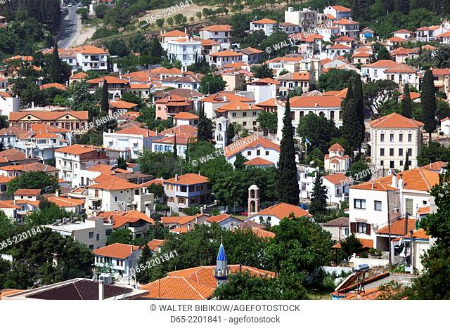 Greece, East Macedonia and Thrace Region, Xanthi, elevated view of Old Xanthi