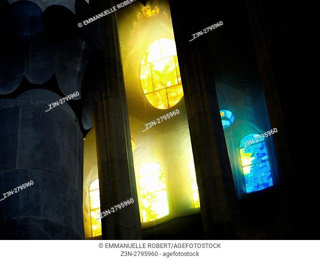 Europe, Spain, Barcelona, Sagrada Familia, Interior, Interiors, Gaudi, UNESCO, UNESCO World Heritage Sites, Tourism, Travel, Holiday, Vacation