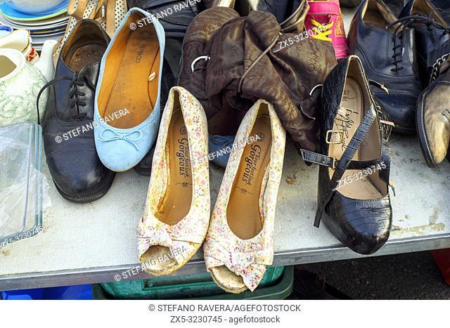 Second hand shoes fo sale in Deptford flea market - London, England