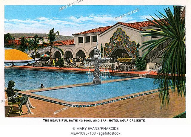 The swimming pool and spa at the Hotel Agua Caliente, part of a popular leisure centre in Tijuana, Mexico
