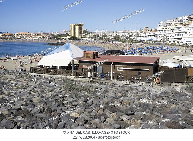 Tenerife, Canary Islands, Spain - December 28 , 2018: Pier with cement concrete pavements in the harbor of Los Cristianos