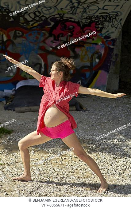 Pregnant woman exercising. Munich, Germany