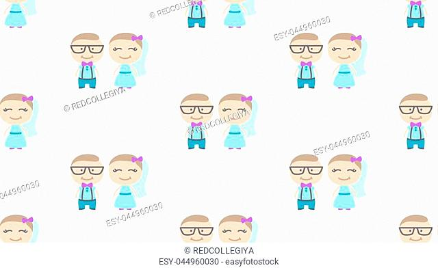 hipster wedding couple, cartoon groom and bride, vector seamless pattern