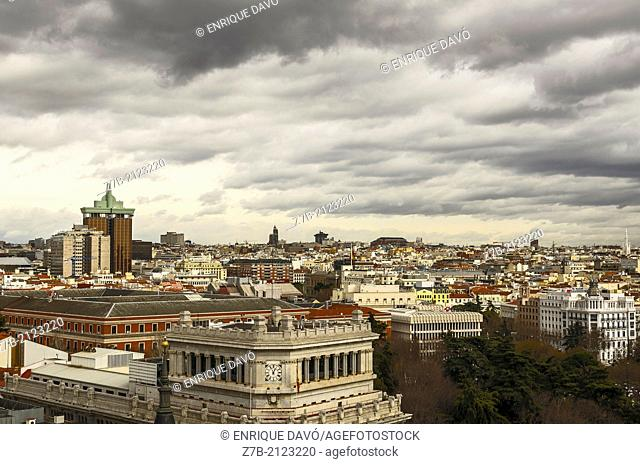 View of a trees in area perspective of Madrid city, Spain