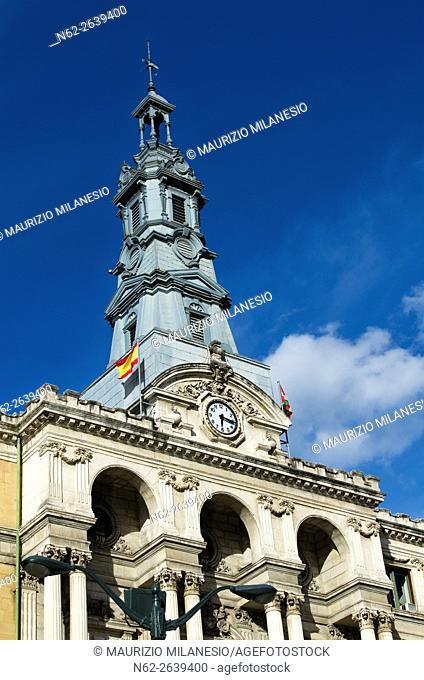Detail of the City Hall Bilbao, Biscay, Spain, Europe, In front of a clear blue sky and white clouds