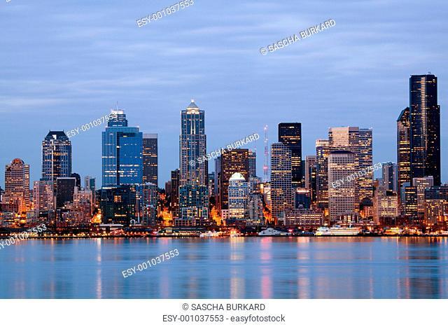 Seattle Washington skyling at twilight