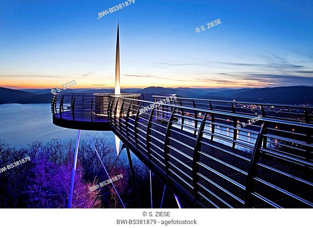 Skywalk Biggeblick at sunset, Germany, North Rhine-Westphalia, Sauerland, Attendorn