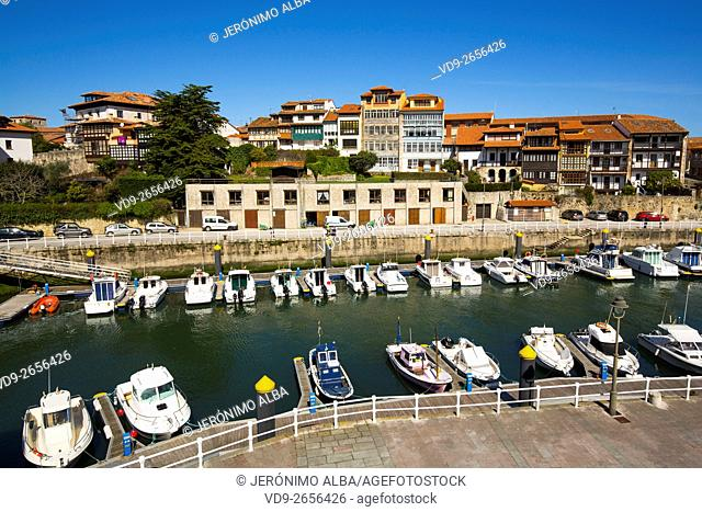 Fishing port Marina. Fishing village of Llanes, Cantabrian Sea, Asturias, Spain Europe