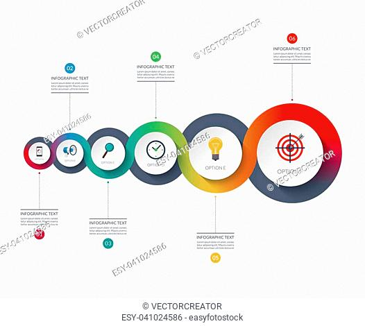 Timeline infographics. Business growth concept. Vector banner with 6 options. Can be used for flow chart, info graph, time line, diagram, step by step template