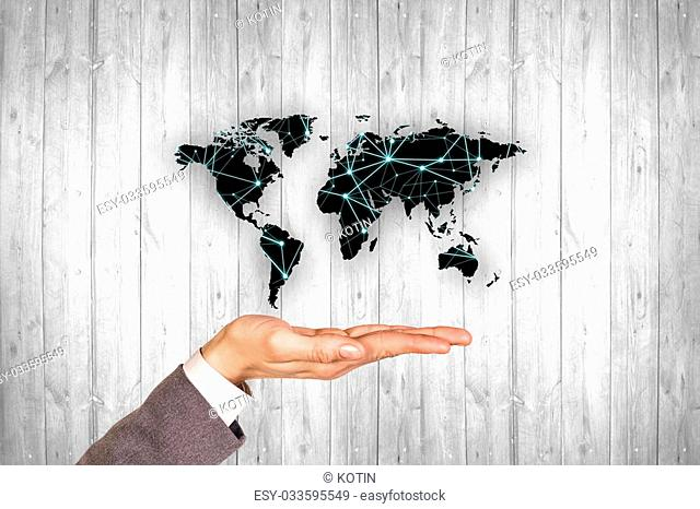 Black map on the gray wood wall background. Pollution concept. Elements of this image furnished by NASA