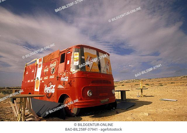 An Almost Food state in an old VW coach with Larnaka in sueden of the island Cyprus in the Mediterranean Sea in Europe