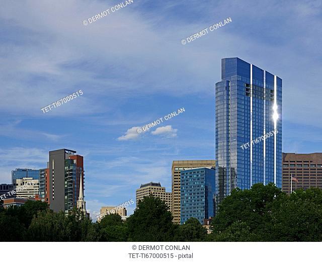 Massachusetts, Boston, Millennium Tower against blue sky