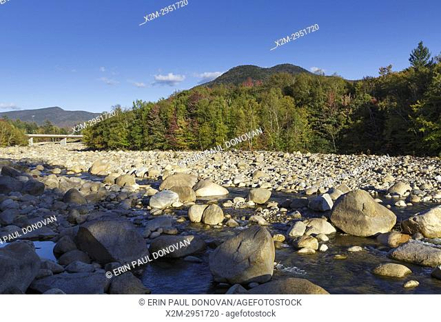 Black Mountain from the along the East Branch of the Pemigewasset River in Lincoln, New Hampshire during the autumn months