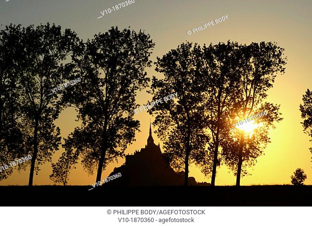 France, Normandy, Manche, bay of Mont-Saint-Michel on the world heritage list of UNESCO, the Mont-Saint-Michel, behind poplar trees