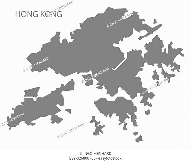 Hong Kong China Map in grey