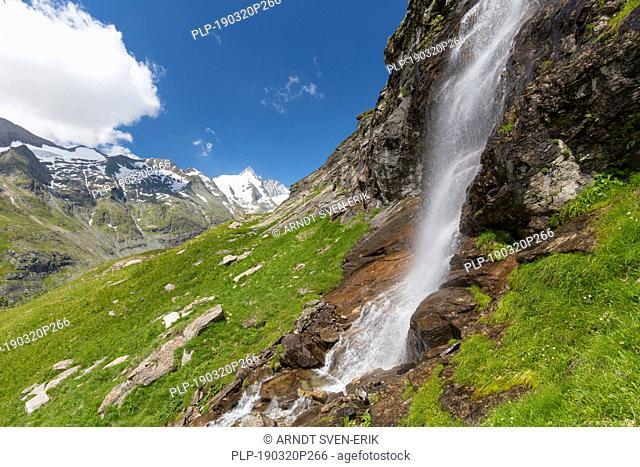 Michl-Bach waterfall in summer in the Hohe Tauern National Park, Carinthia, Austria