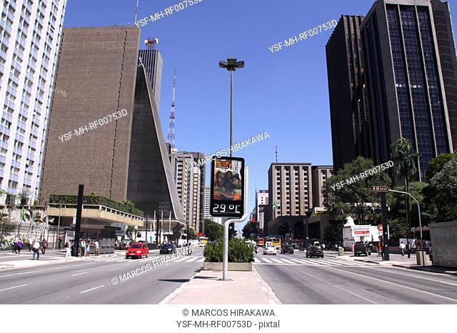 City, Traffic, Paulista Avenue, São Paulo, Brazil