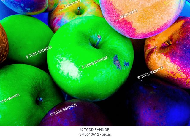 Assorted fruit, saturated colors