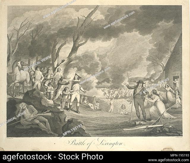 Battle of Lexington. Tiebout, Cornelius (1777-1830) (Engraver) Tisdale, Elkanah (1768-1835) (Artist). I. N. Phelps Stokes Collection of American Historical...
