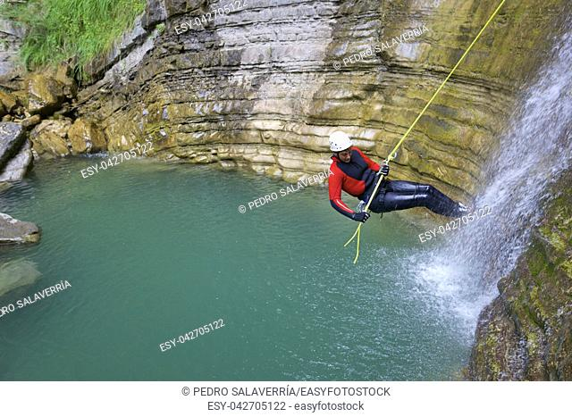 Canyoning in Furco Canyon, Broto, Pyrenees, Huesca Province, Aragon, Spain