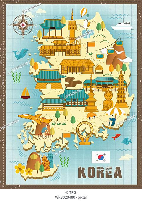lovely South Korea travel map design in flat style