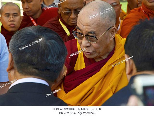 The Dalai Lama is meeting with Buddhists from all over the world for a communal prayer, Global Buddhist Congregation 2011, at Gandhi Smitri, New Delhi, India