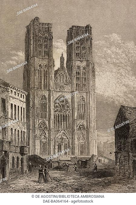 Cathedral of Saint Michael and Saint Gudula, Brussels, Belgium, engraving by Lemaitre from Belgique et Hollande, by Van Hasselt, L'Univers pittoresque