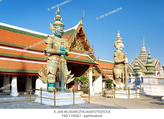 Thailand - Bangkok, Grand Royal Palace, Esmerald Buddha Temple, Giant Demon guarding Wat Phra Kaeo