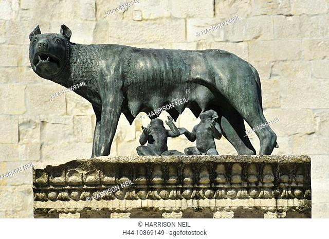 Italy, romulus, remus, Wolf, Wölfin, nursing, legend, Rome, old, antique, Rome, history, story, mammal, bronze, statue
