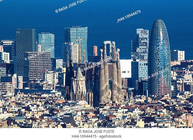 Spain, Europe, Catalonia, agbar, Barcelona, buildings, city, diagonal mar, Mediterranean, metropolis, Sagrada Familia, church, skyline, tower